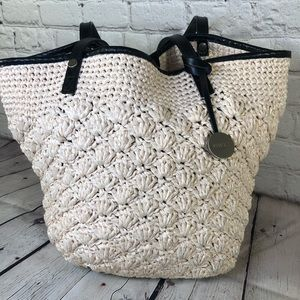 Furla Straw and Leather Small Tote